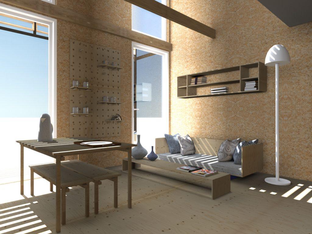 interior de casa ganadora del construye solar 2017